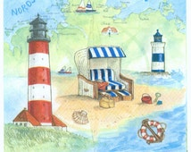 Decoupage Napkins | Summer Beach Sea Shore Seashells Lighthouse Sand | Summer Napkins | Party Napkins | Paper Napkins for Decoupage