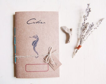 Seahorse notebook, eco - friendly recycled jounal, sea diary