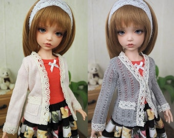 Kawkana - Girlish Sweather, Grey or Pink  for Iplehouse KID, Unoa CHIBI, Clothes for other 35cm BJD