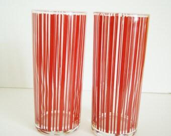Set of 2 RED STRIPED Glassware Vintage TUMBLERS Barware