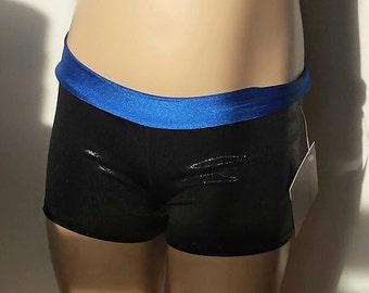 Gymnastics Shorts, Girls Size 4, Shiny Black / Royal Blue Low Waisted Shorts for Gymnastics,  Dance and/or Cheerleading