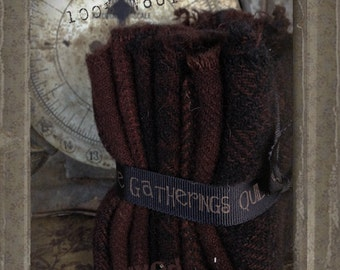 Hand Dyed 100 percent Wool Bundle Color: Walnut - Primitive Gatherings