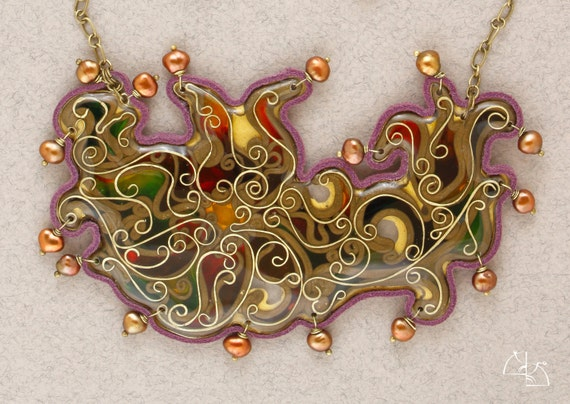 CHRISTMAS SALE 25% off Fusion. Jewelry Set. Unusual asymmetrical necklace and bright earrings.