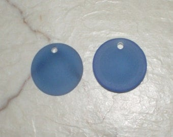 "Recycled Sapphire  Blue ""Sea Glass""  Concave Coins - 24MM"