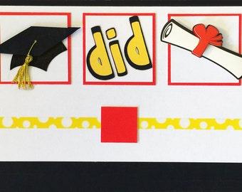 You Did It! Grad money enclosure card
