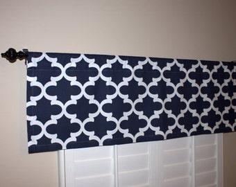 Window Curtain - Navy Blue Valance - Kitchen Window Valance - 50x16 Valance - Window Treatments