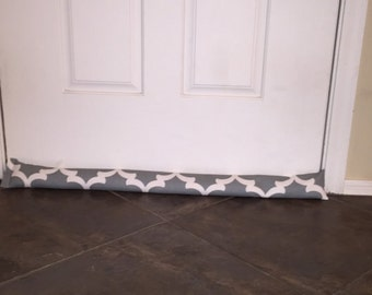 Door Draft Stopper - Gray Door Draft Stopper - Window or Door Snake - Breeze Blocker