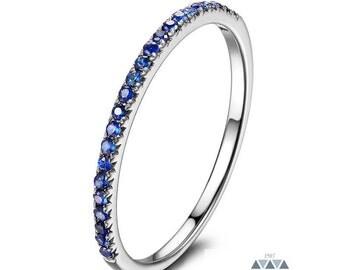 Half Sapphire Pave Wedding Band 14k Gold