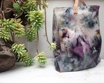 Dyed canvas tote bag, Market bag, Large canvas tote bag, Tie dye tote, Handcrafted tote bag, Canvas bag