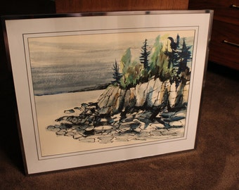 Vintage signed watercolor of Pacific Northwest