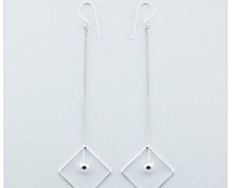 Diamond Shape 925 Sterling Silver Drop Earring