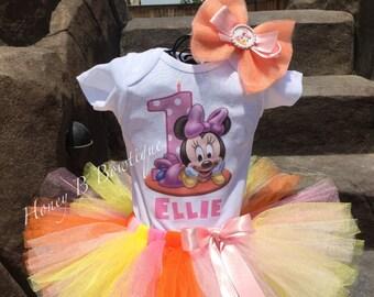 Baby Minnie 1st Birthday Tutu Outfit, Minnie Mouse First Birthday Tutu, Minnie Mouse Birthday Tutu, Minnie Mouse Tutu MM1
