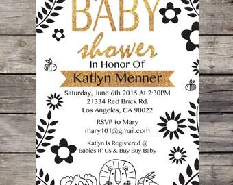 Black White & Gold Baby Shower Invite
