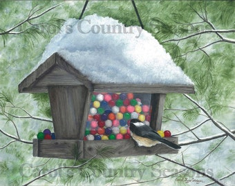 "Chickadee Art PRINT, 11"" x 14"""