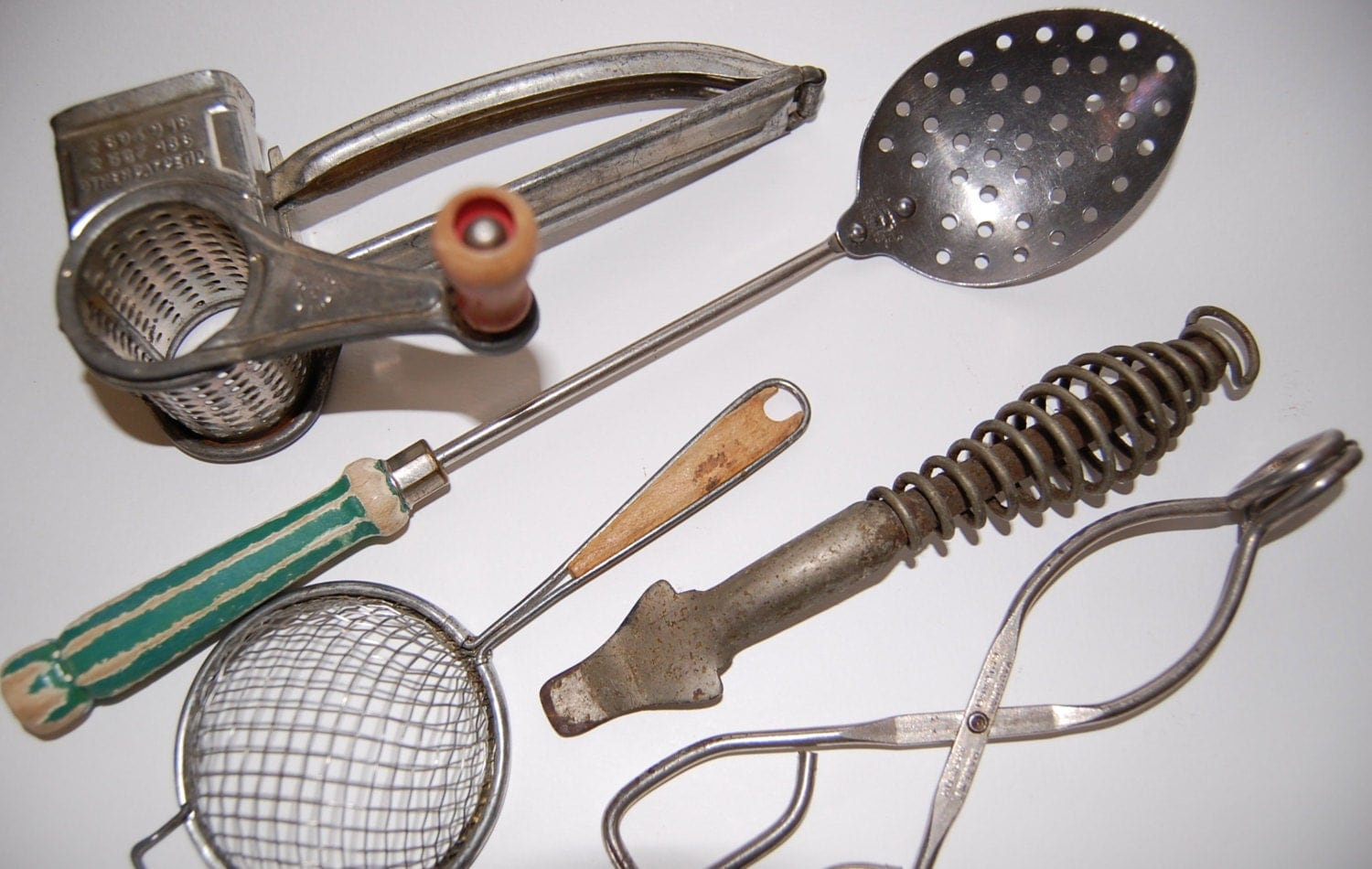 Antique Kitchen Tools ~ Vintage kitchen utensils slotted spoon strainer tongs
