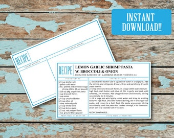 INSTANT DOWNLOAD! Printable &  Editable 3X5 Recipe Cards