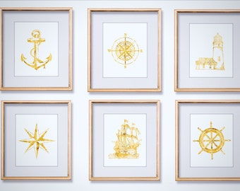 Nautical Print Set of 6 - Gold Nautical Print Set - Nautical Theme Decor - Real Gold Foil Prints - Anchor Print - Compass Print