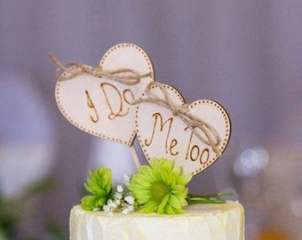 Rustic Wedding -  Cake Toppers - I Do Me Too - Wedding Cake Topper - Rustic Wedding