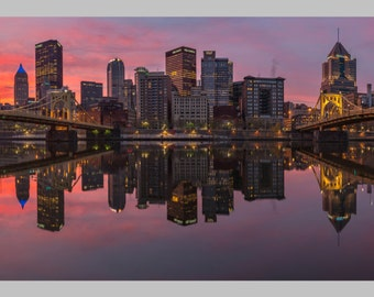 Fire and Mirrors Pittsburgh Skyline North Shore Sunrise Float Mount Photo Metal Print Triptych Photograph Picture