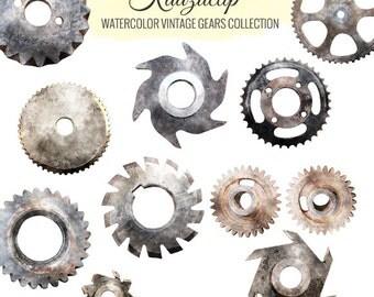 Watercolor Vintage Gears Collection