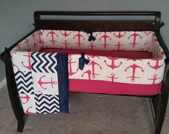 Anchors/Chevron - Pink and Navy