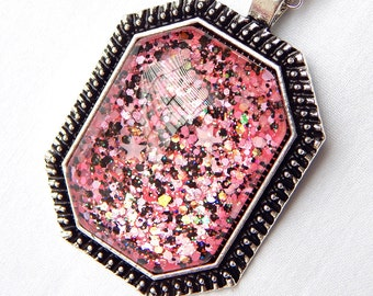 Black and Pink Pendant Necklace; Handmade Nail Polish Jewelry; Hand Painted Glass Pendant; Iridescent Glitter Necklace; Octagon Pendant