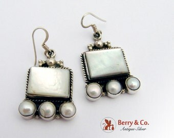 Sterling Silver Dangle Earrings Mother of Pearl