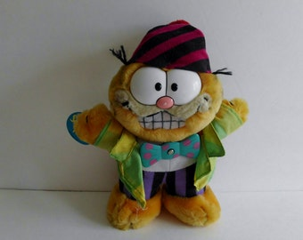 """Vintage 1981 9"""" Garfield Plush Party time w/ Spinning Bow tie Dakin with original paper tag"""