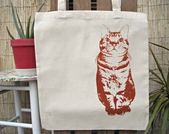 Cotton Stamped  Cat Tote Bag Shopping Bag dark red