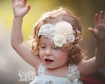 Carmel & Ivory Headband/Shabby Chic Headband/Baby Headband/Infant Headband/Newborn Headband/Toddler Headband/Girls Headband/Photo Prop
