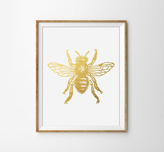 Items similar to faux gold foil bee art print modern home for Minimalist household items