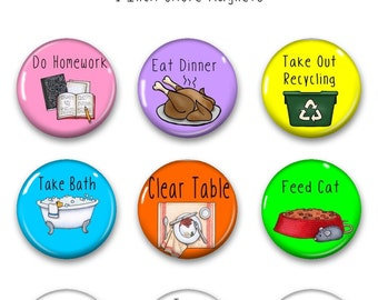 Chore Magnets - Chore Chart Magnets - Chore Magnets for Chore Chart - Chore Chart System -Daily Task Magnet - Responsibility Chart