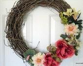 Spring Grapevine Wreath, Summer Grapevine Wreath, Vine Wreath, Spring Flowers, Spring Wreath, Summer Wreath, Floral Wreath, Door Decor