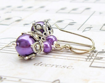 Violet Buds - vintage style antique silver earrings