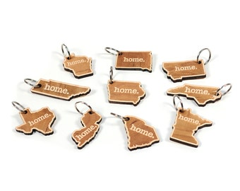 Indiana Key Charm by Home State Apparel: Laser Engraved Wood Keychain, IN