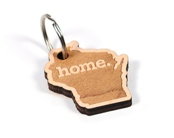 Wisconsin Key Charm by Home State Apparel: Laser Engraved Wood Keychain, WI