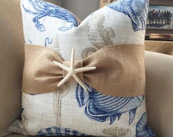 Fish sealife burlap bow coastal pillow cover 18x18
