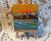 Abstract mini painting on canvas with easel, Original painting, Sea and mountains painting, Tiny Art, Abstract Seascape,