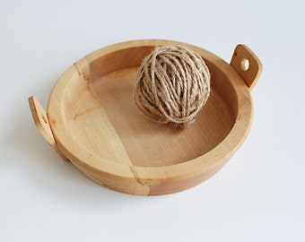 Vintage Wooden Bowl, Swedish Primitive Wood Plate, Brown Rustic Serving, Large Handmade Bowl, Scandinavian Decor