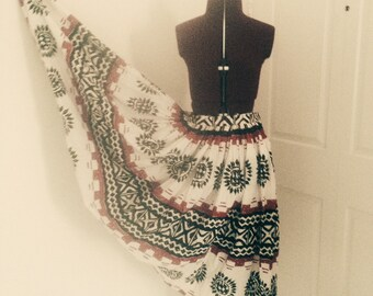 Vintage 50s Circle Skirt Tribal Print