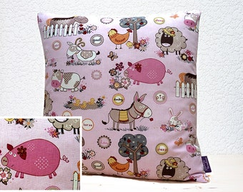 "Handmade 18""x18"" /16""x16""Cotton Cushion Pillow Cover in Pink/Fawn/Grey/White Comical Donkey/Goat/Pig/Sheep/Cow Farmyard Animal Design Print"