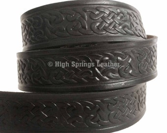 Black Irish Celtic Knot Leather Belt