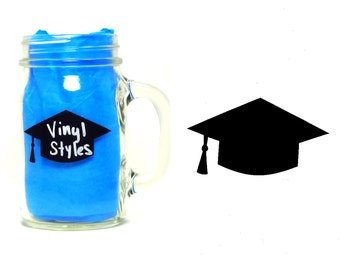 Vinyl Graduation Cap Chalkboard Label 25, 50, 100, Black Reusable Removable Decal Sticker Party Mason Jar High School College Night Ceremony