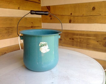 Turquoise enamel vintage metal bucket