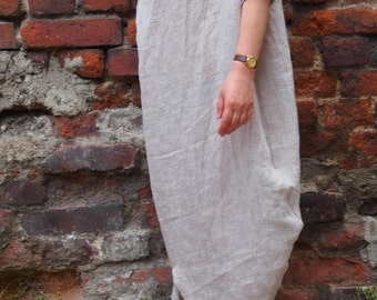 Linen Dress  Short Sleeve Linen Dress Plus size Maxi Dress Extravagant Loose Dress & Nara LR010