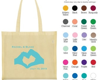 Cotton Bags (C1812) Heart Shape Hands - Welcome Wedding Bags - Wedding Favors - Personalized Tote Bags - Custom Canvas Bags