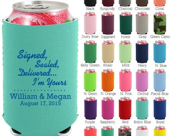 Personalized Neoprene Can Coolers (1233) It's Official - Beer Can Coolers - Can Cooler - Custom Wedding Favors