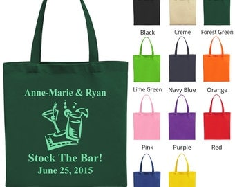 Wedding Gift Bags (C1794) Stock the Bar - Wedding Favors - Personalized Bags - Custom Tote Bags - Wedding Tote Bags