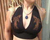 Black 100% Cotton Hand Made and Printed Raven Halter Top Steampunk Motorcycle