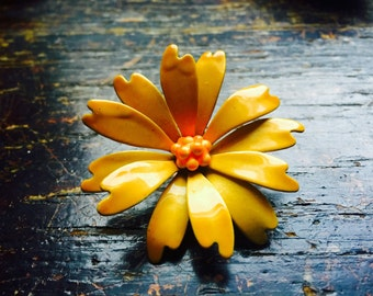 Sixties Yellow Flower Pin